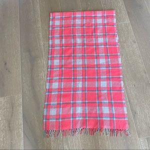 J. Crew Plaid Wool Blanket Scarf Coral Pink Gray